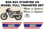 BSA B25 Starfire US Model 250cc Transfer Decal Set V2
